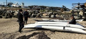 Examining hulls of Tiderace kayaks