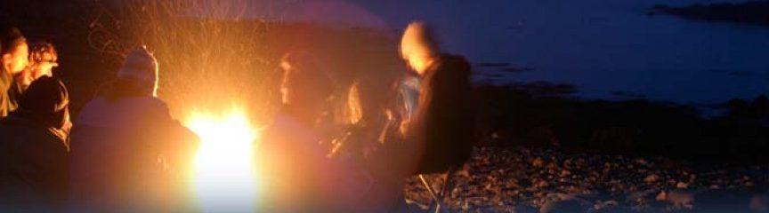 evening bonfire at island campsite