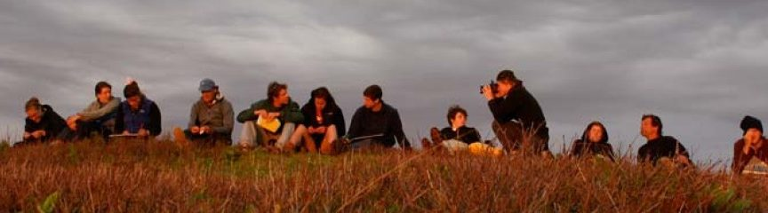 students on an island hillside