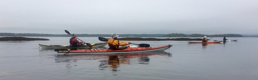 Gliding in kayaks in calm water