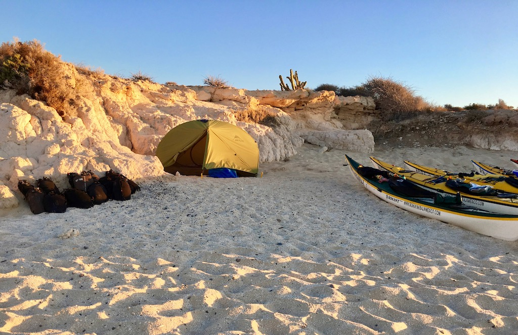 camping on the beach in Baja, Mexico