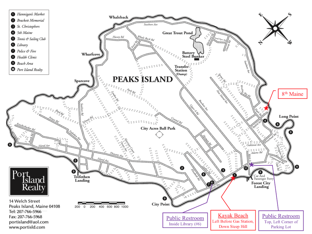 Map of Peaks Island, Maine