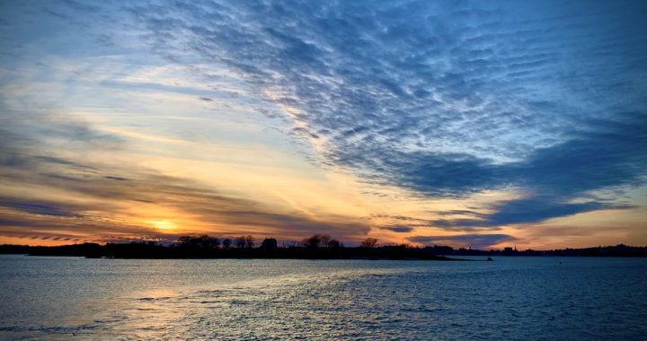 Sunset behind House Island, Casco Bay